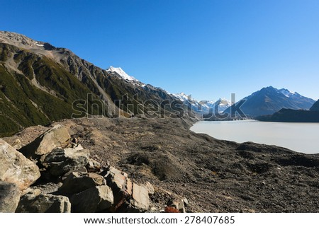 Hooker Lake  in Mount Cook National Park, New Zealand - stock photo