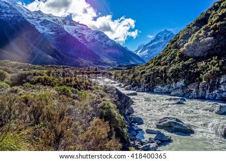 Hooker River in Aoraki national park New Zealand - stock photo