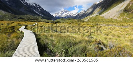 Hooker Valley Track at Mount Cook National Park - New Zealand - stock photo