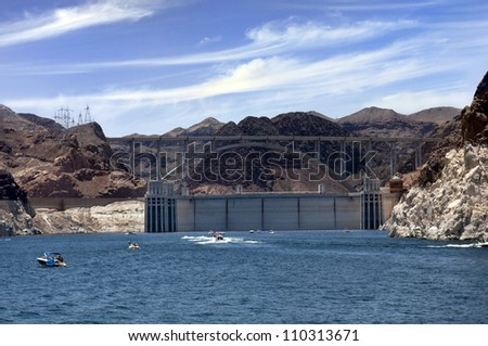 Hoover Dam and Colorado River Bridge, the dam on the Colorado River in Black Canyon, on the border of Arizona and Nevada, USA - stock photo