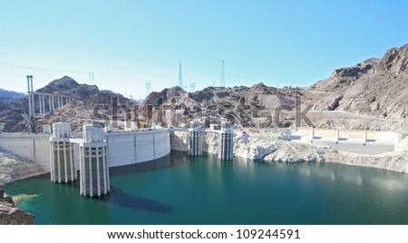 Hoover Dam and colorado river USA - stock photo