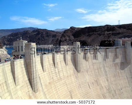 Hoover Dam and Lake Mead near Las Vegas, Nevada. - stock photo