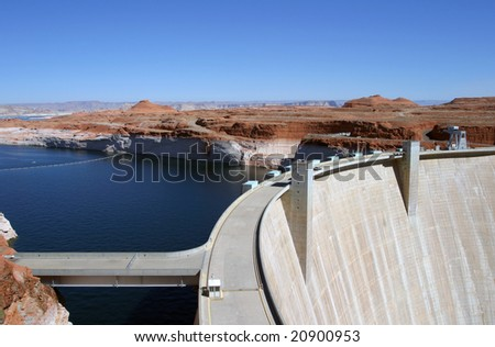 Hoover Dam and the surrounding landscape