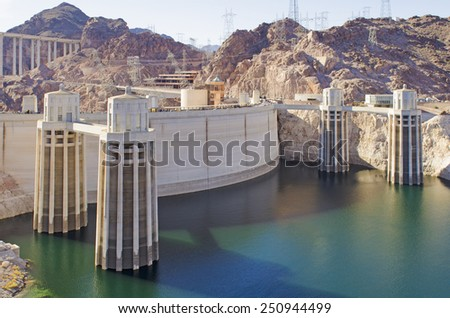 Hoover Dam at Lake Mead National Recreation Area Mike O'Callaghan �¢?? Pat Tillman Memorial Bridge - stock photo