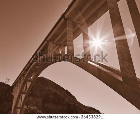 Hoover Dam Bridge, USA - stock photo
