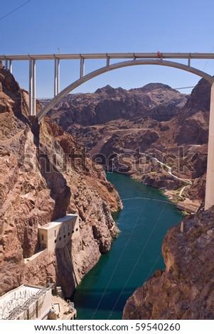 Hoover Dam bypass - Mike O'Callaghan - Pat Tillman Memorial Bridge - stock photo