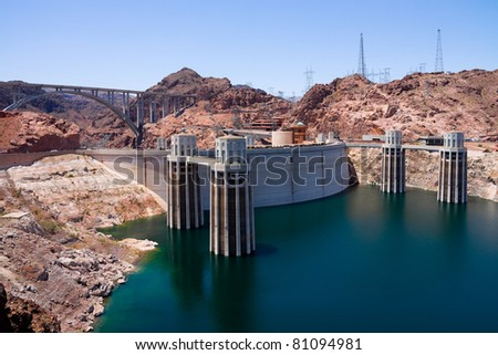 Hoover Dam from Arizona side - stock photo