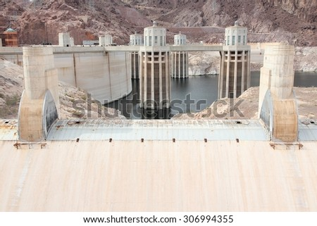 Hoover Dam in United States. Hydroelectric power station on the border of Arizona and Nevada. - stock photo