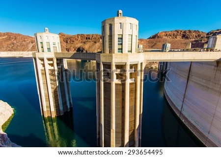 Hoover Dam Intake Towers Closeup. Hoover Dam in Nevada, United States. - stock photo