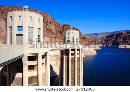 Hoover Dam Intake Towers, Lake Mead - stock photo