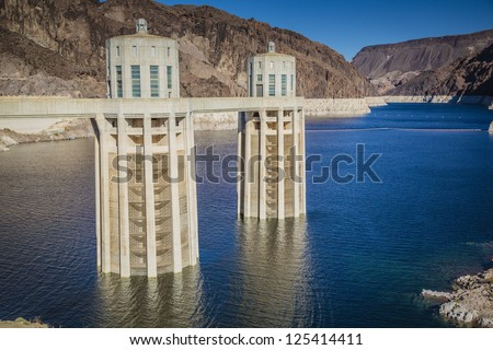 Hoover Dam Intake Towers on Lake Mead - stock photo
