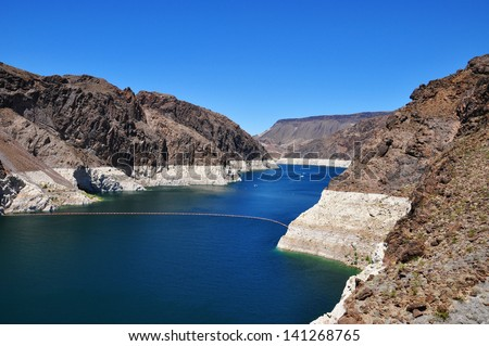 Hoover Dam, Lake Mead, Nevada, Arizona, USA - stock photo