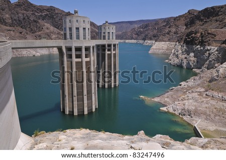 Hoover Dam on a Colorado River between Arizona and Nevada - stock photo