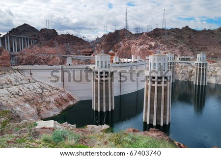 Hoover Dam panorama over Colorado River on the boarder between Arizona and Nevada. - stock photo