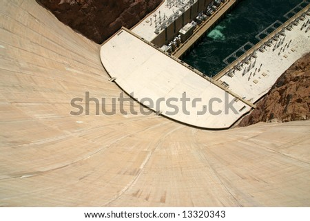 Hoover dam view from the top looking down. - stock photo
