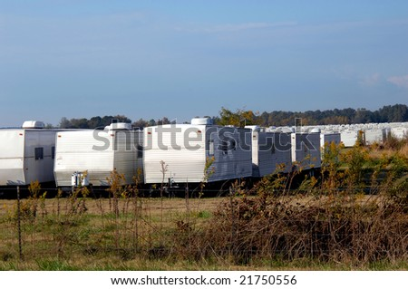HOPE, ARKANSAS - NOVEMBER 3, 2008: FEMA trailers parked in field on outskirts of Hope, Arkansas. - stock photo