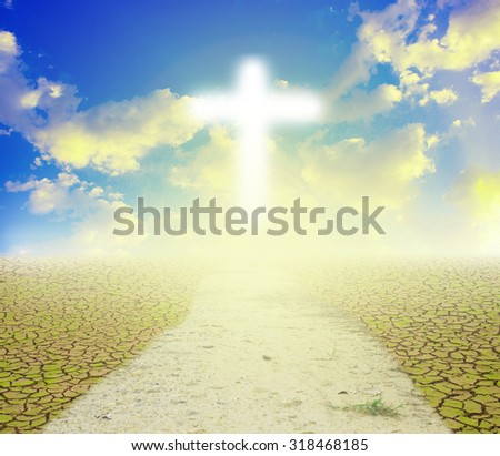 hope.Christianity:Believe in God,Crucifix with nature abstract background - stock photo