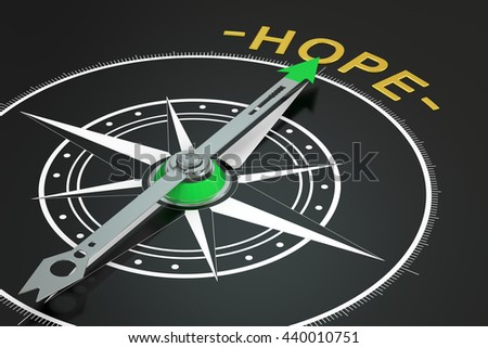 Hope compass concept, 3D rendering - stock photo