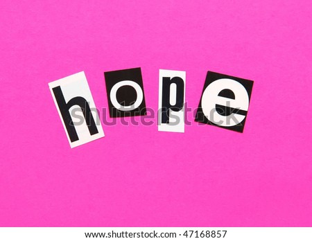 hope on a bright pink background - possible concept for breast cancer awareness - stock photo