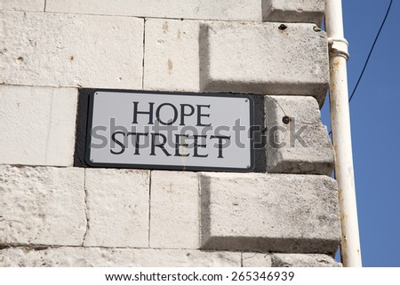 Hope Street Sign, England, UK