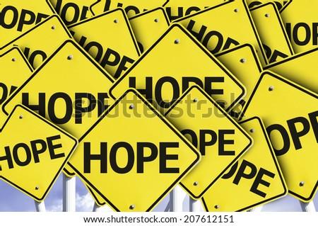 Hope written on multiple road sign - stock photo