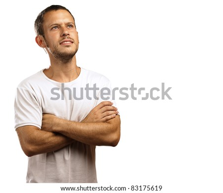 hopeful young man thinking about the future on white background - stock photo