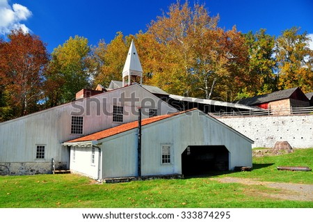 Hopewell Furnace, Pennsylvania - October 15, 2015:  The Cast House and Foundry at Hopewell Furnace National Historic Park * - stock photo