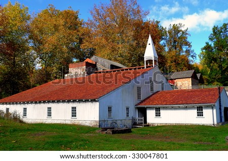 Hopewell Furnace, Pennsylvania - October 15, 2015:  The Cast Iron Shed with its distinctive wooden cupola at Hopewell Furnace National Historic Site * - stock photo