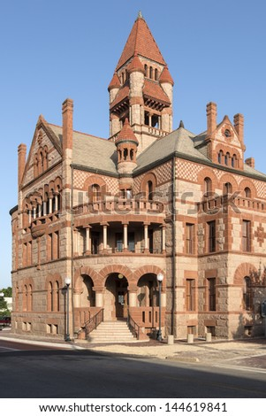 Hopkins County Texas Courthouse in Sulphur Springs Texas - stock photo