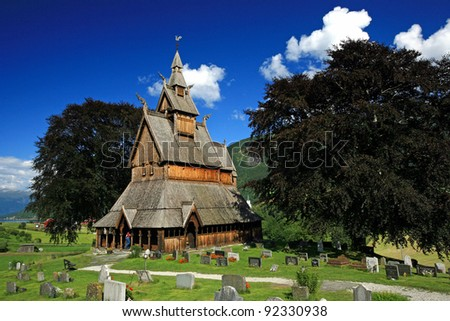 Hoppestad stave church in Norway - stock photo