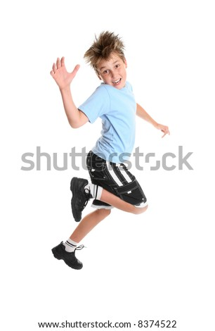 Hopping or skipping child showing happiness. - stock photo