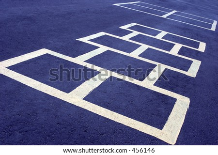 hopscotch game at a school, white board on blue - stock photo