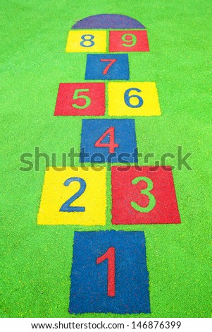 hopscotch painted on the floor - stock photo