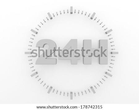 horaires d'ouverture - service 24 h - 3d render illustration - stock photo