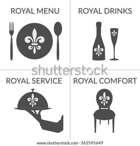 HoReCa business stylized symbols logotype set. Logo Design template for cafe, coffee shop, restaurant, hotel, winery isolated on white. Service Concept. Royal fleur de lis emblem. illustration - stock photo
