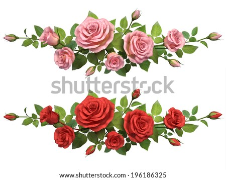 Horisontal border with roses branches  isolated in white. - stock photo