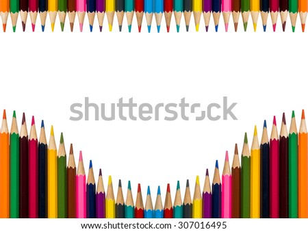 horisontal frame with multicolored pencils on white background - stock photo