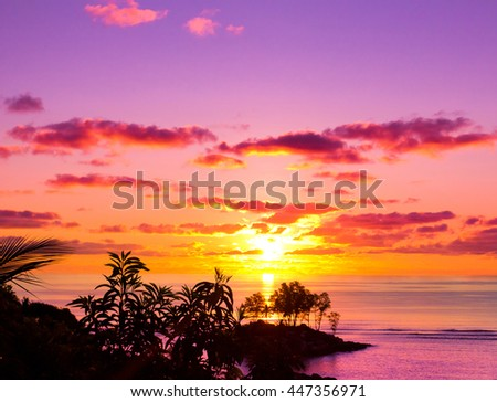 Horizon Coast Sunset  - stock photo
