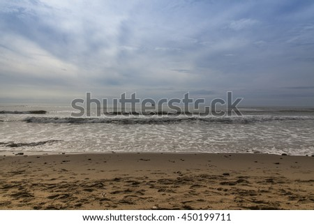 Horizon line between sky and sea at sunset. Contrast - stock photo