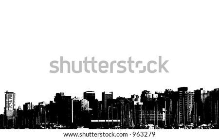 horizon of a cityscape - stock photo