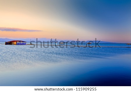horizon of the sunset - stock photo