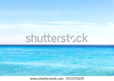 Horizon on the blue Mediterranean sea in Nice, south of France - stock photo