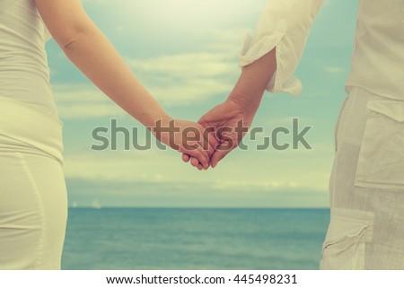 horizon sky background forward looking couple - stock photo