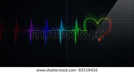 Horizontal and Colorful Pulse Trace Heart Monitor with the symbol of a heart in line with the pulse. - stock photo