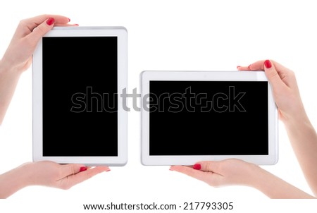 horizontal and vertical view of modern tablet pc with empty copyspace screen in female hands isolated on white background - stock photo