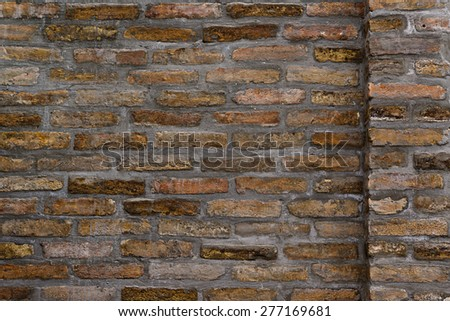 Horizontal background pattern of weathered old brick wall texture, grungy rusty brushed blocks as urban architecture backdrop. - stock photo