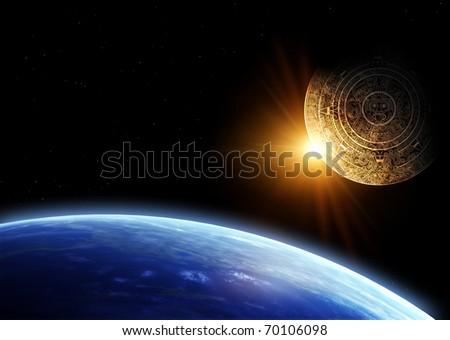 Horizontal background with Maya calendar and Earth - stock photo