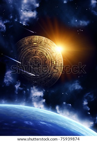 Horizontal background with Maya calendar and Earth - stock photo