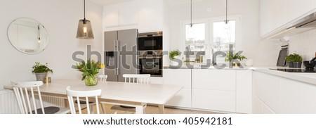 Horizontal banner of fancy kitchen - stock photo