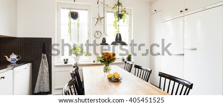 horizontal banner of interior of a kitchen - stock photo